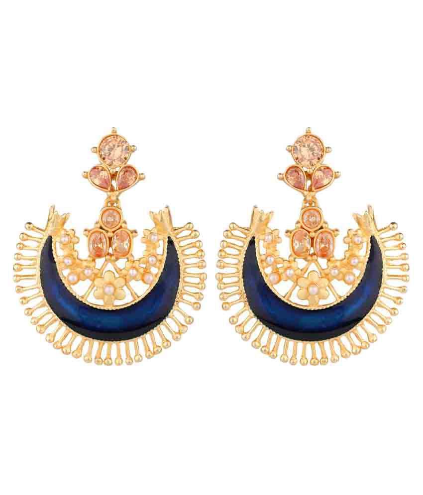 Shraddha Golden Alloy Matt Finish Chandelier Earrings