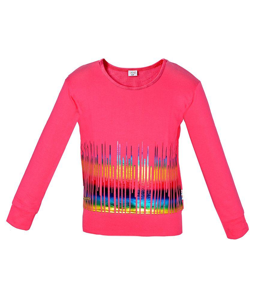 Gkidz Pink Girls Full Sleeve Musical Wave Printed Sweatshirt