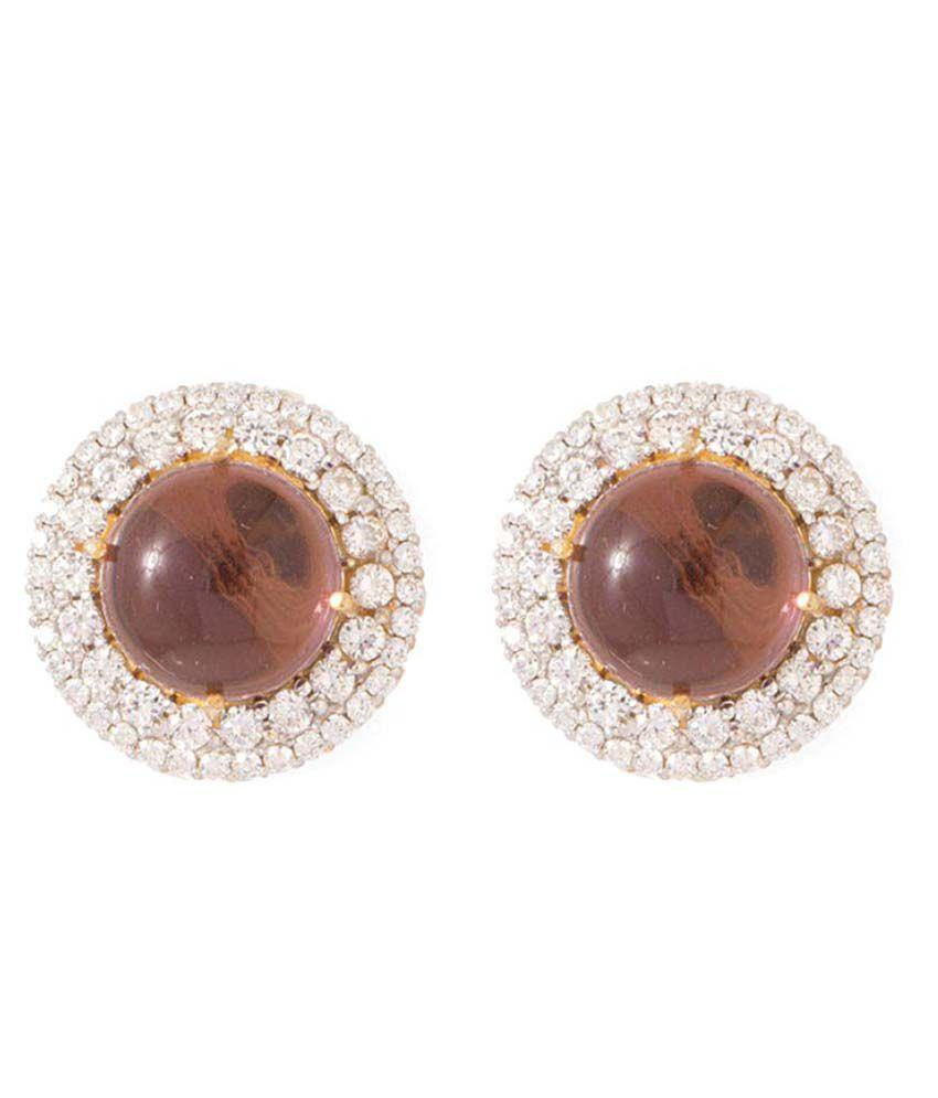 Voylla Golden Stud Earrings