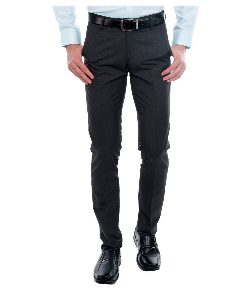 Vimal Black Slim Flat Chinos