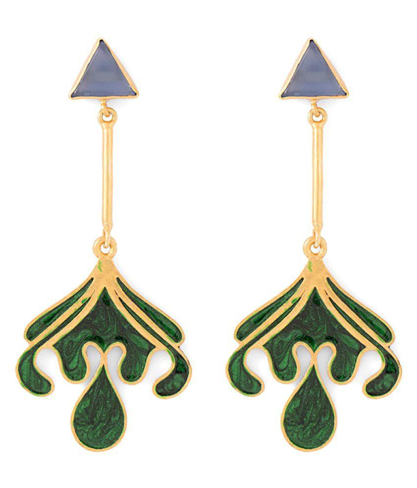 Voylla Blue Chalcy Adorned Dazzling Earrings