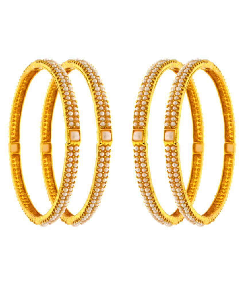Anuradha Art Multi Colour Golden Bangles Set of 4