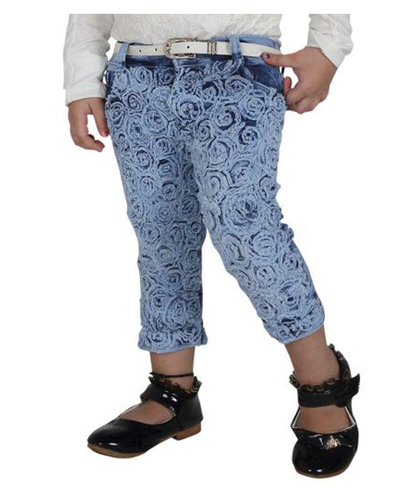 Naveens Light Blue Denim Slim Fit Capri for Girls