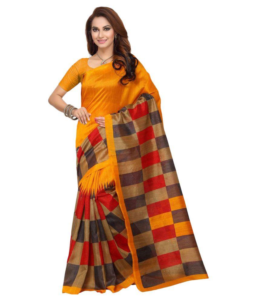 Ishin Yellow Bhagalpuri Silk Saree