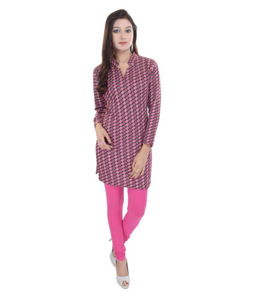 Fab Rajasthan Pink Jacquard Straight Kurti