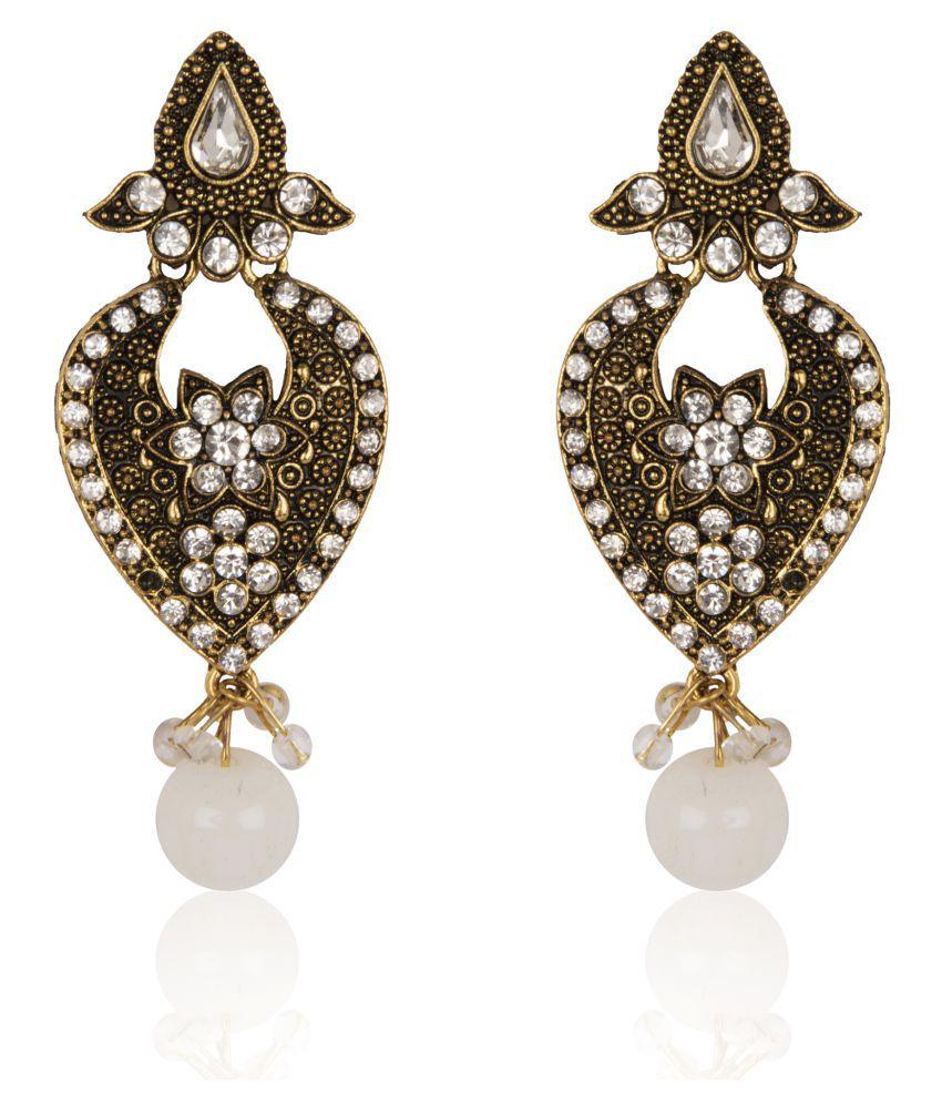 Diva Walk Golden Hanging Earrings Single Pair - Buy Diva