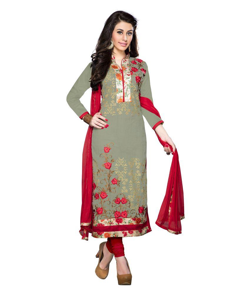 Khushali Green Cotton Blend Dress Material