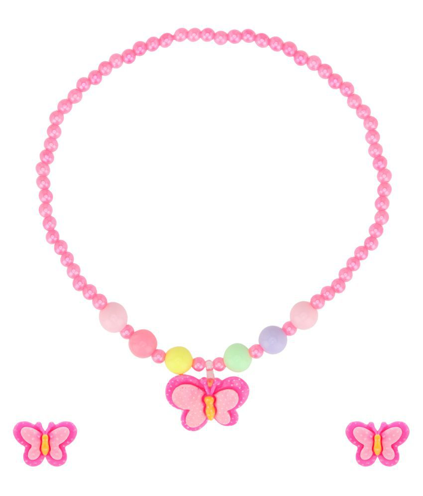 19 likes pink alloy Fashion Children Pretty Butterfly Jewellery Set Necklace Bracelet Ring Earrings