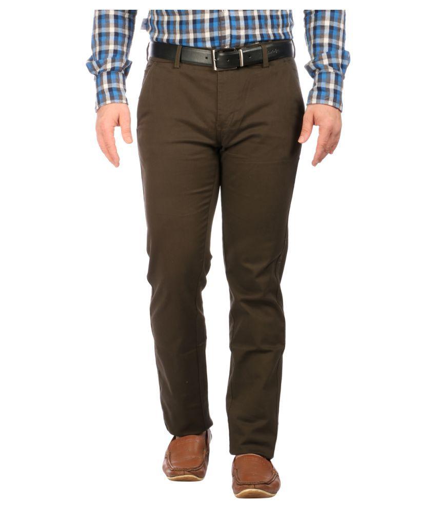 Donear NXG Brown Regular Flat Trousers