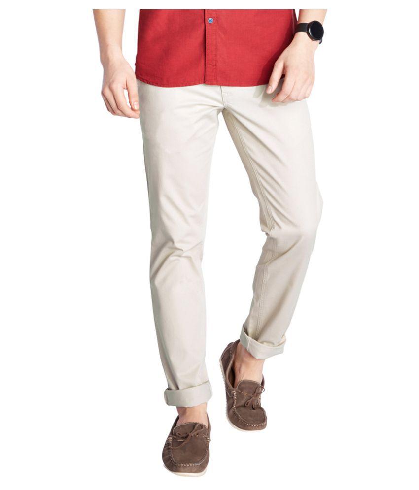 Parx Beige Slim Flat Trousers