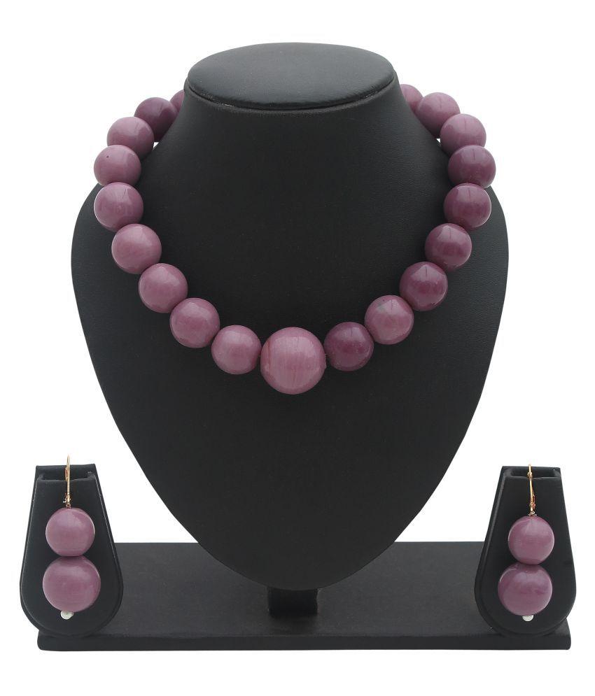 7 Star Jewel Maroon Beads Stone Necklace & Earring Set