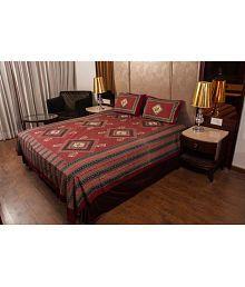 Cotton HandiClues Double Cotton Maroon Ethnic Bed Sheet