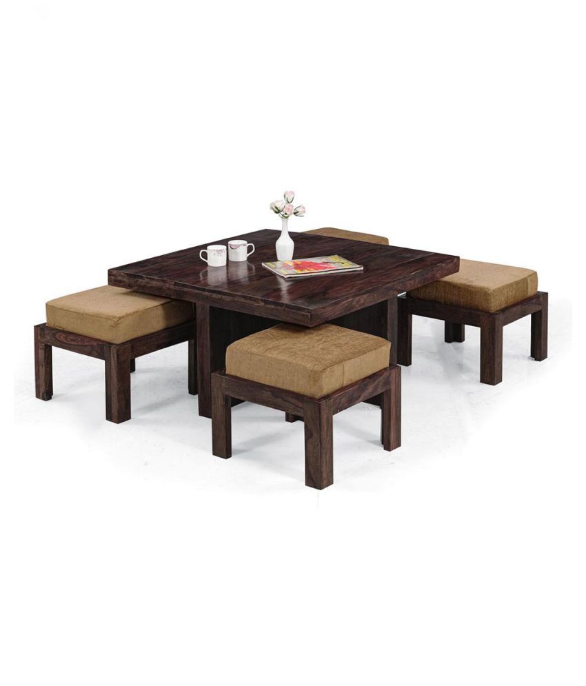 Inhouz solid wood square coffee table with stools buy for Square coffee table with stools