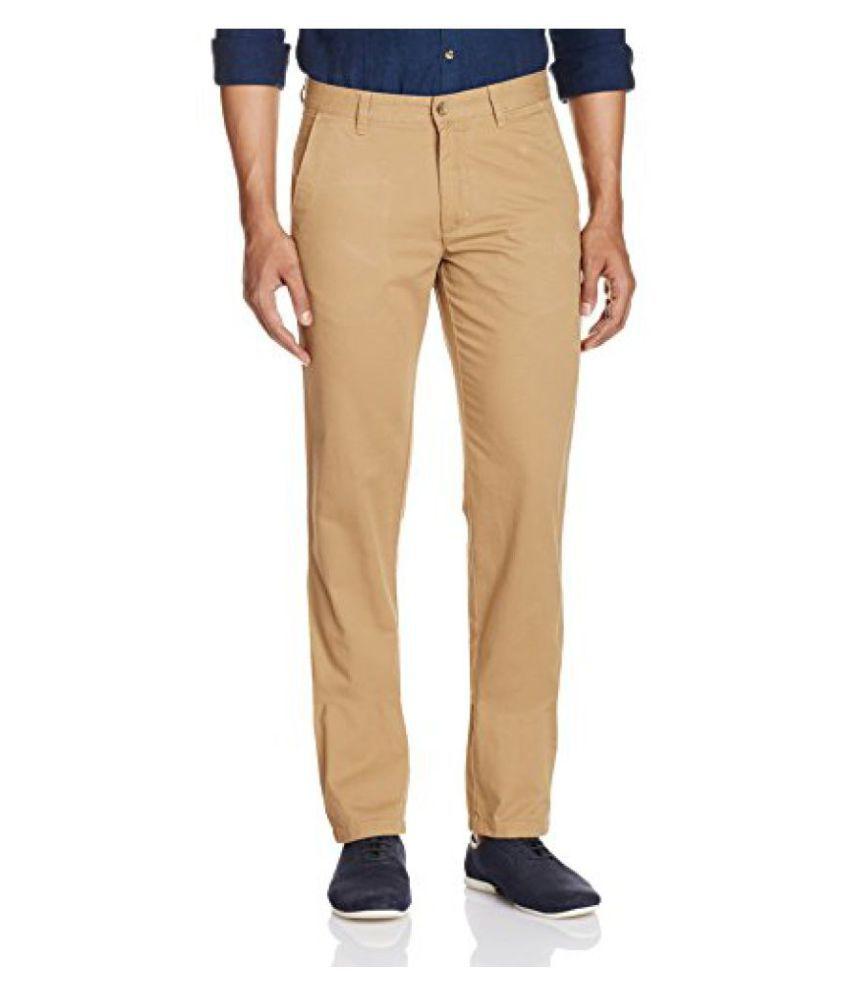Arrow Khaki Regular Flat Trousers
