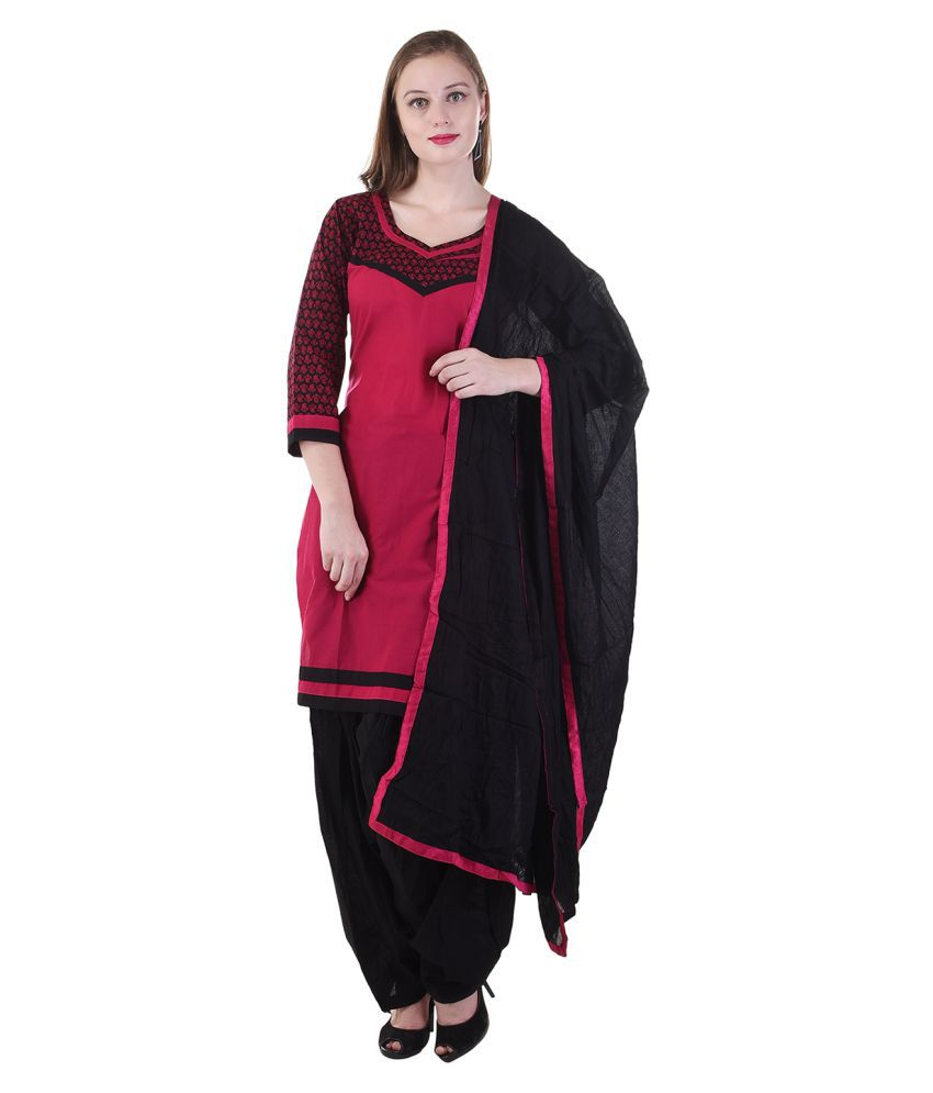Maahi Red Cotton Straight Stitched Suit