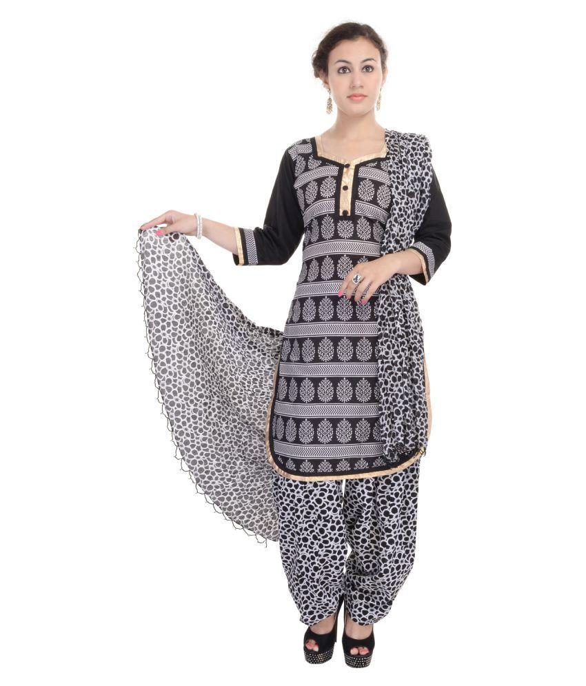 Maahi Black Cotton Straight Stitched Suit