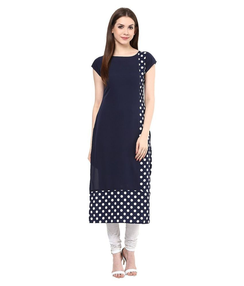 Being Women Navy Crepe Straight Kurti