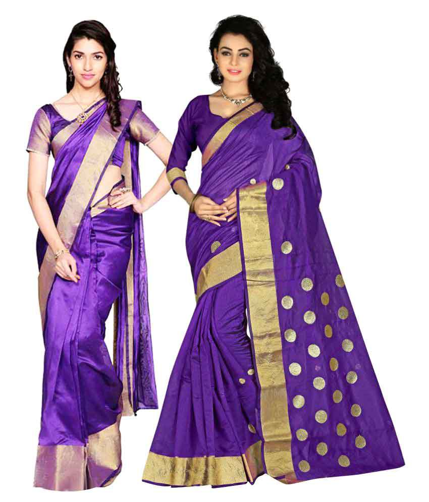 342686135 7 Brothers Blue Cotton Silk Saree Combos - Buy 7 Brothers Blue Cotton Silk  Saree Combos Online at Best Prices in India on Snapdeal