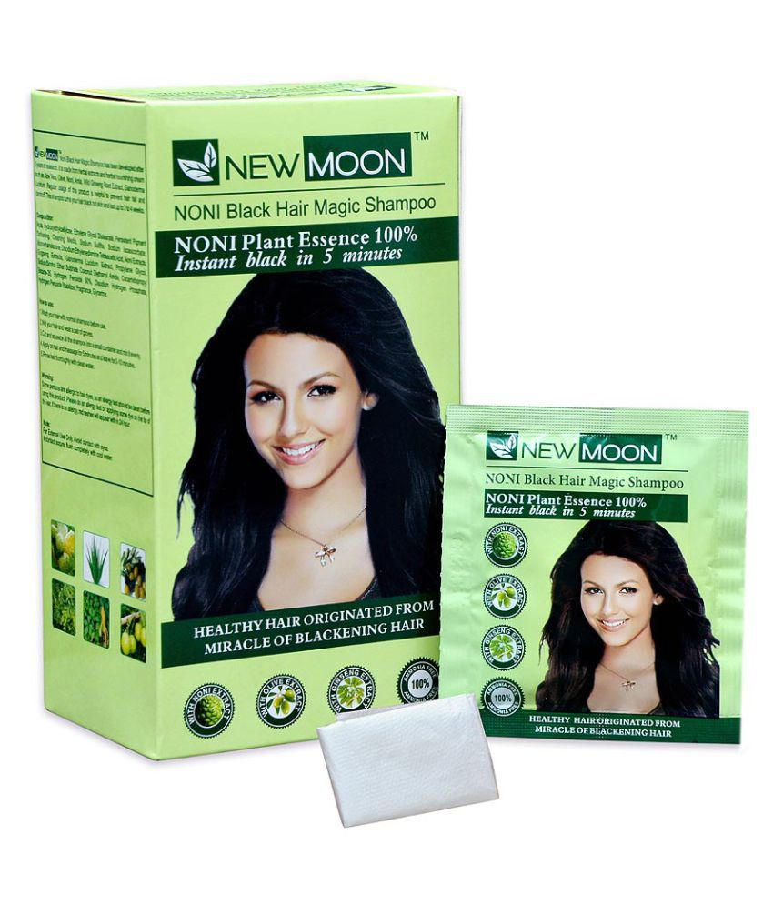 New Moon Noni  shampoo Permanent Hair Color Black 15 ml Pack of 20
