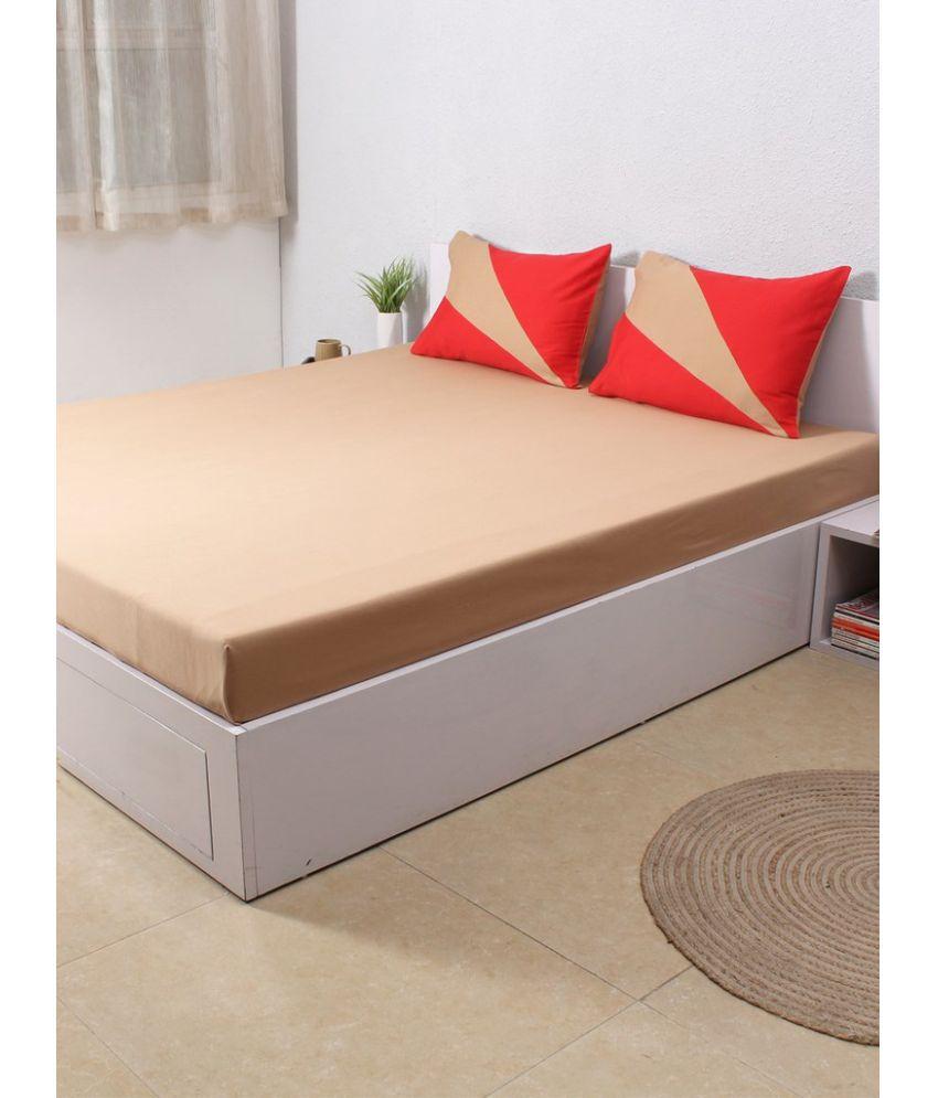 House This Single Cotton Beige Plain Bed Sheet