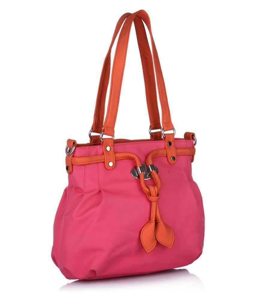 Butterflies Pink Fabric Shoulder Bag
