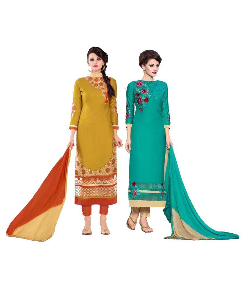 Sahari Designs Multicoloured Satin Dress Material