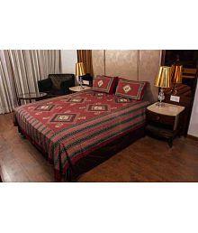 Cotton HandiClues Double Cotton Maroon Geometrical Bed Sheet Set Of 2