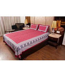 Cotton HandiClues Double Cotton Maroon Floral Bed Sheet