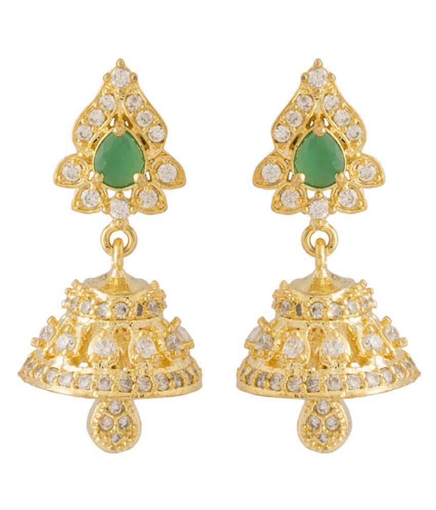Voylla Golden Brass Jhumki Earrings