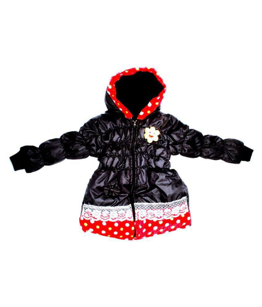 Rudra Fashion House Black Polyester Jacket With Hood