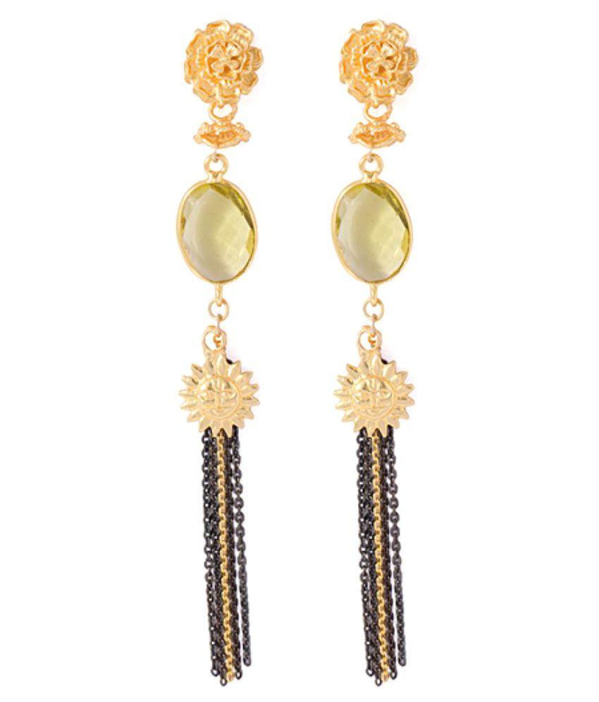 Voylla Golden Alloy Hangings Earrings