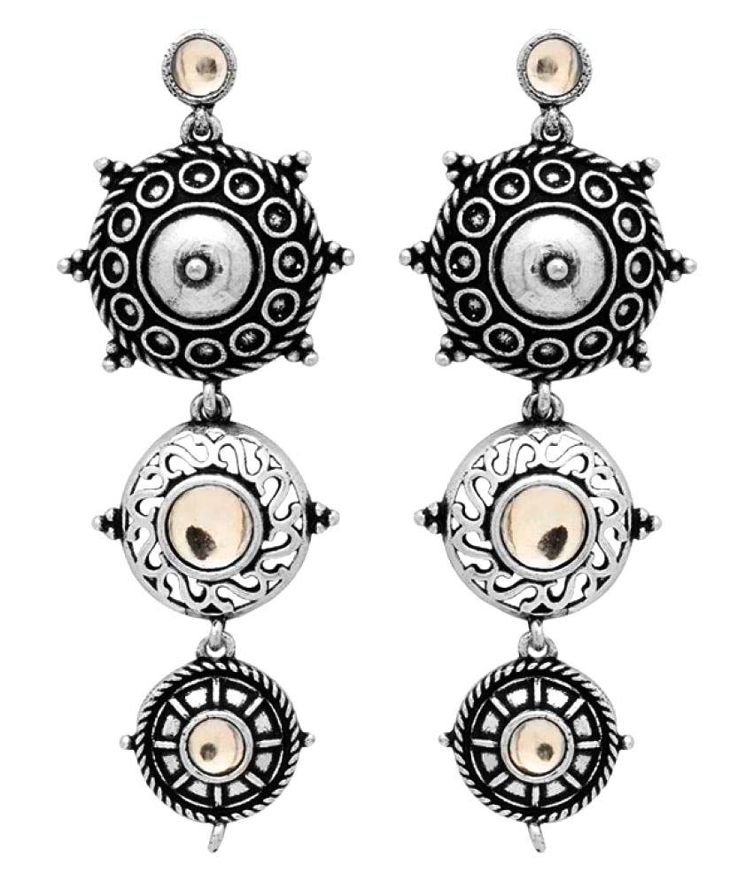 Voylla Silver Alloy Hangings Earrings