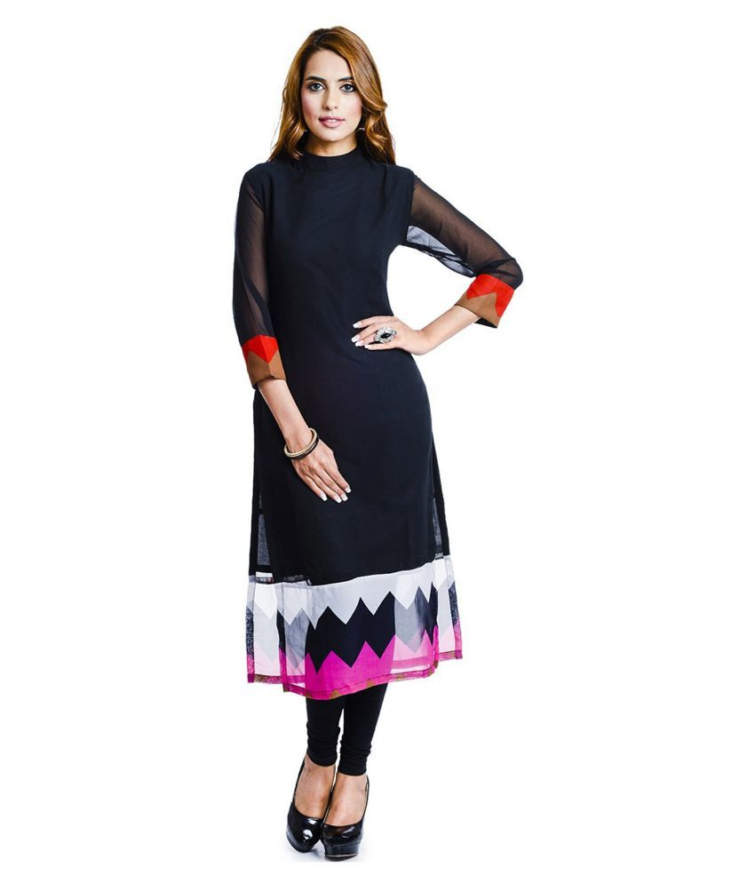 Big Pout Black Georgette Straight Kurti