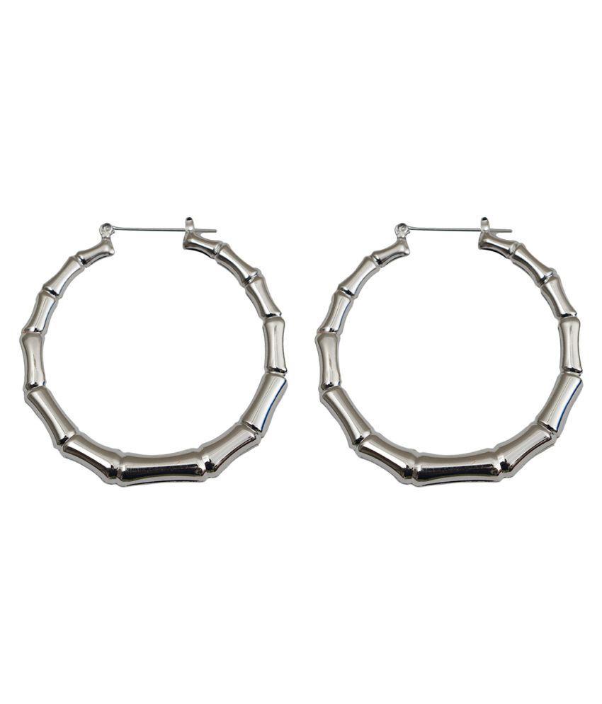Taj Pearl Silver Designer Hoop Earrings