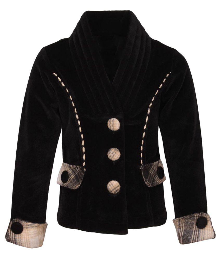 Cutecumber Black Polyester Coat