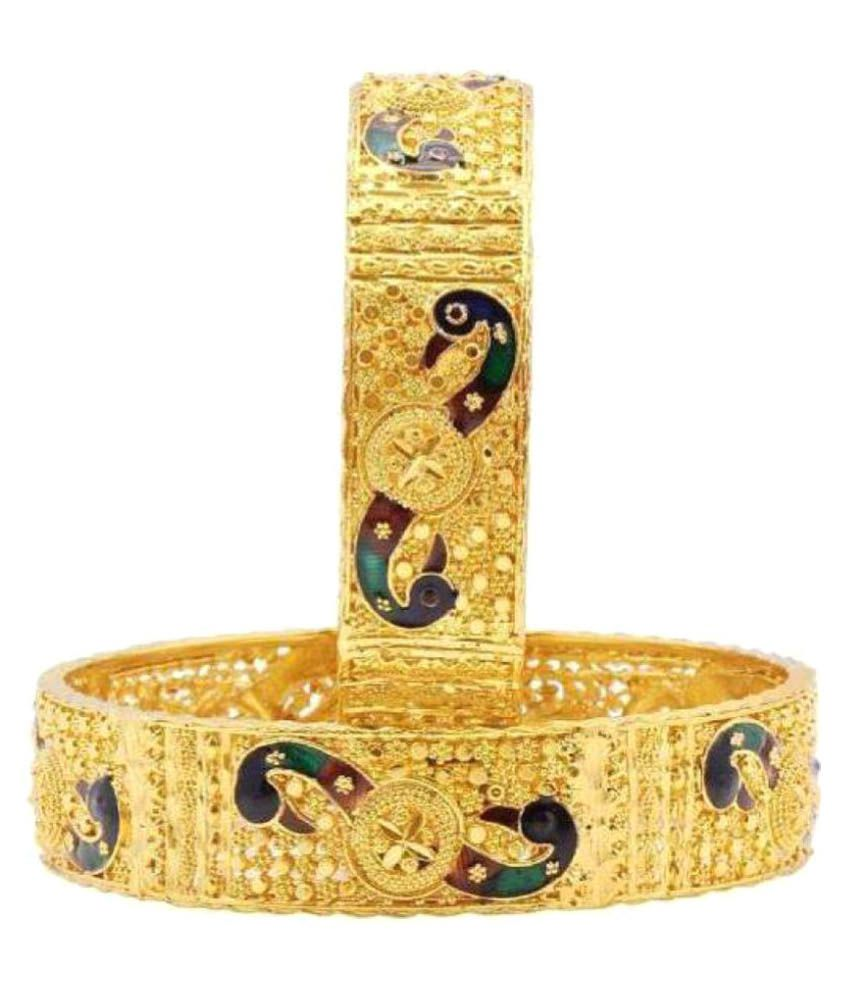 Kanas Jewellers Peacock Gold Plated Alloy Bangles