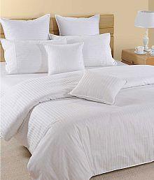 Jain Shoppers Double Satin Stripe White Stripes Bed Sheet - 671573274539