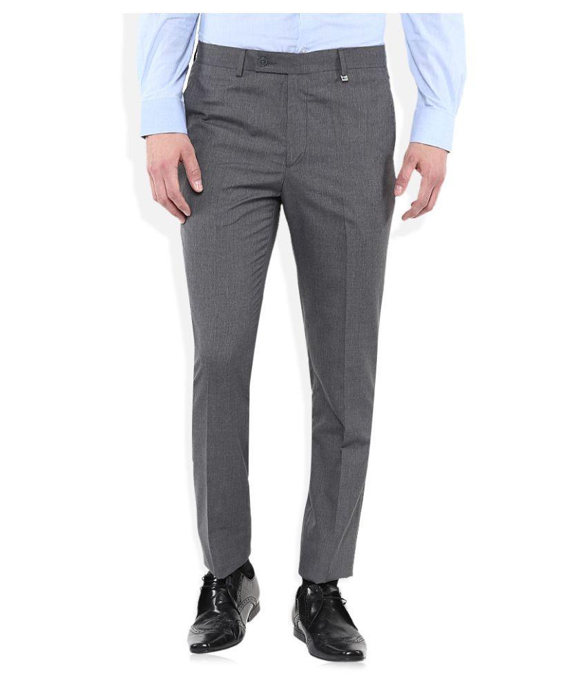 Indigo Nation Grey Slim Flat Trousers