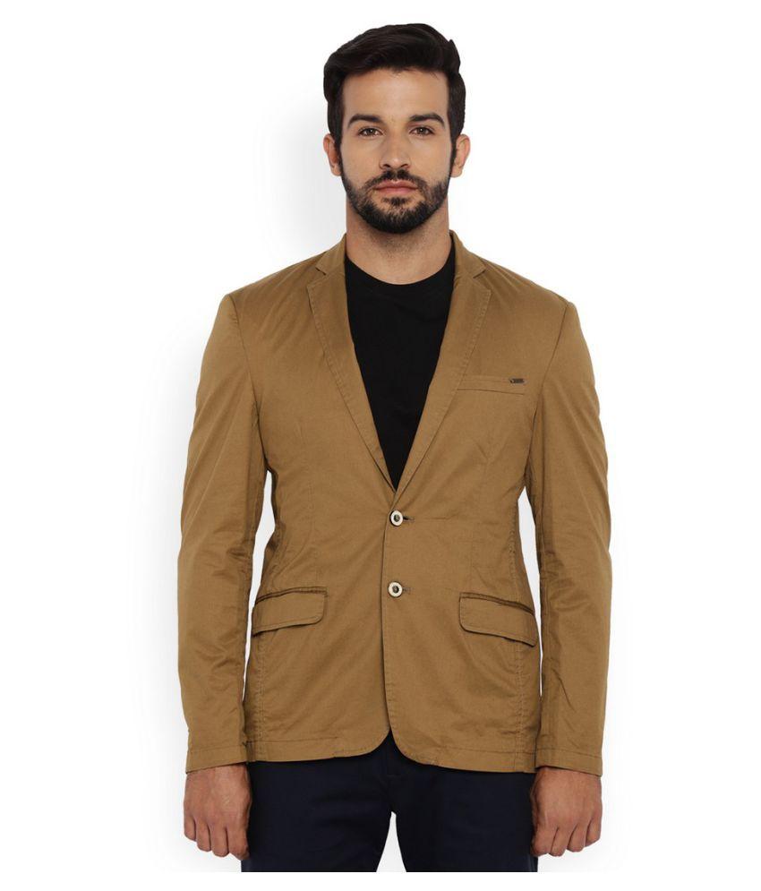 Park Avenue Brown Solid Casual Blazers