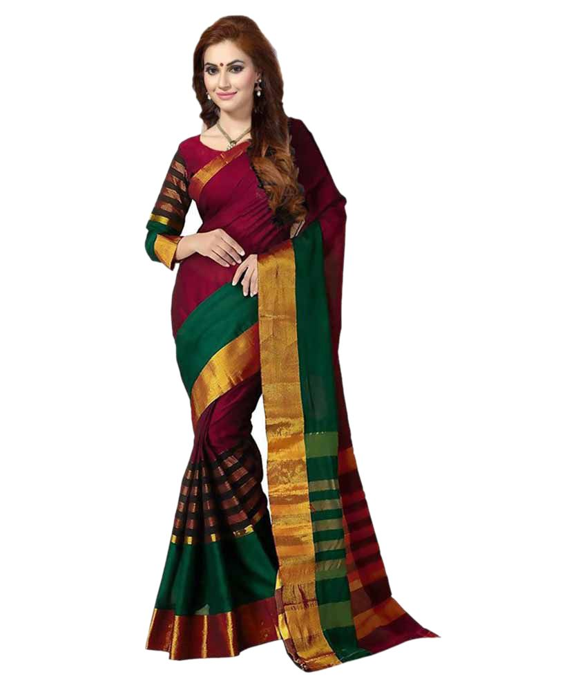 f140416a6d1 Ishin Green and Brown Silk Saree - Buy Ishin Green and Brown Silk Saree  Online at Low Price - Snapdeal.com