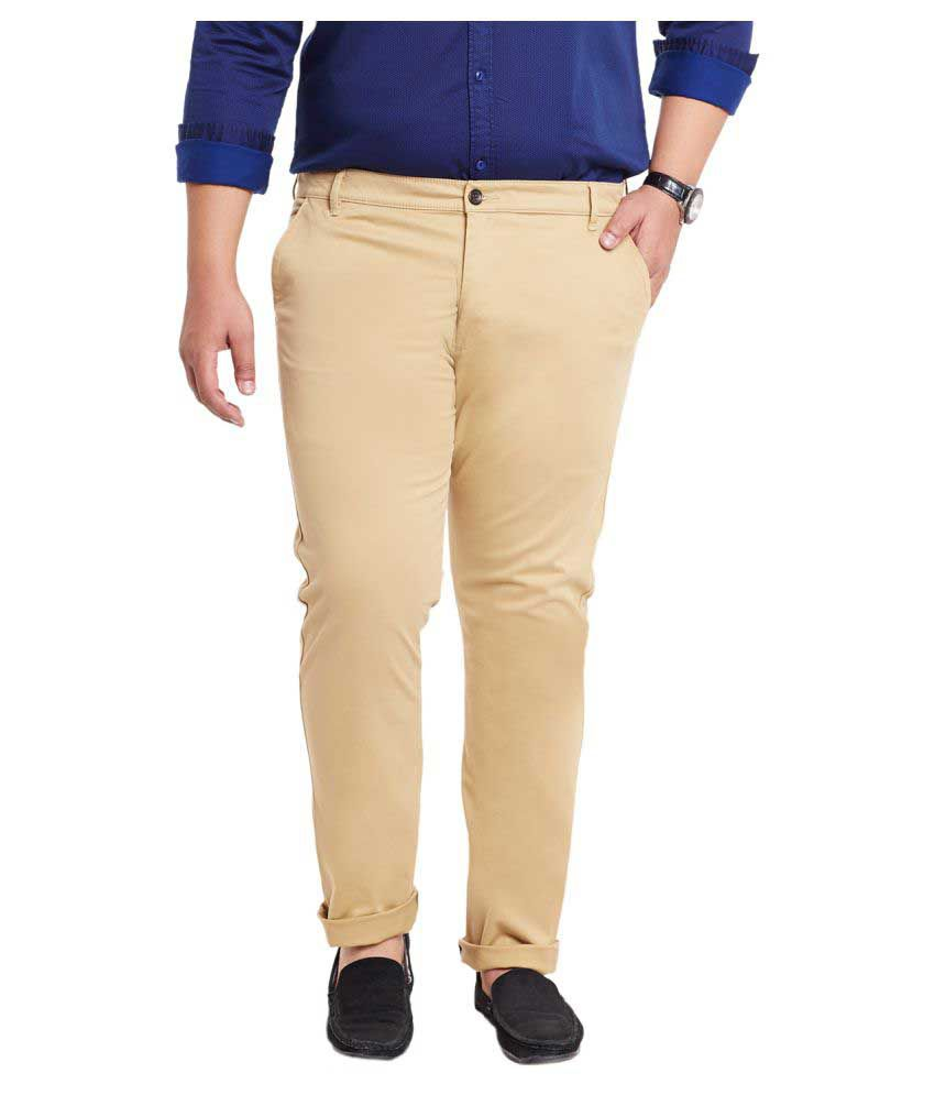 Mike & Smith Khaki Slim Flat Chinos