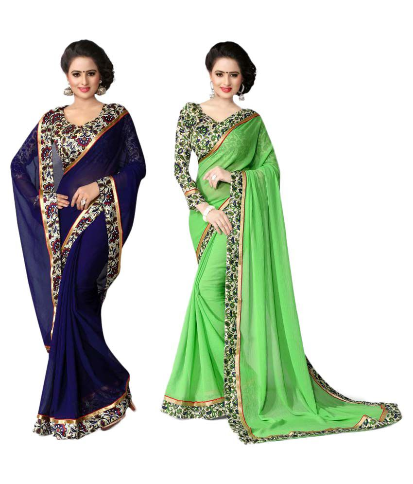 Oorjeet Multicoloured Chiffon Saree Combos