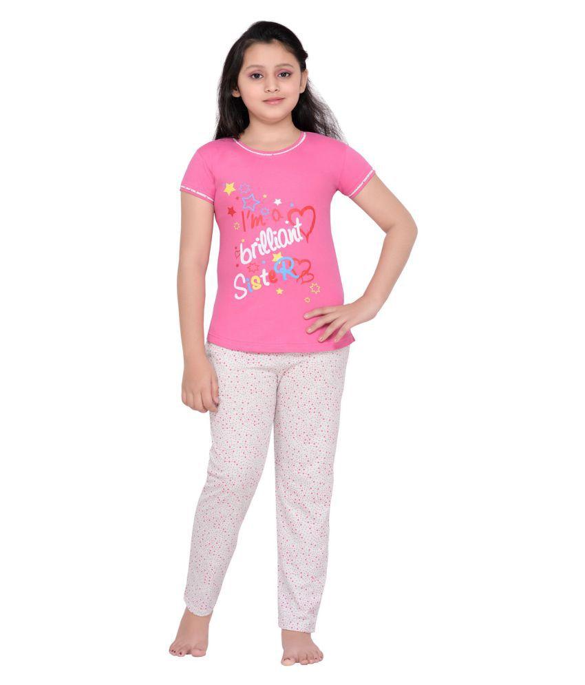 Punkster Pink Top & Printed Pyjama Set for Girls