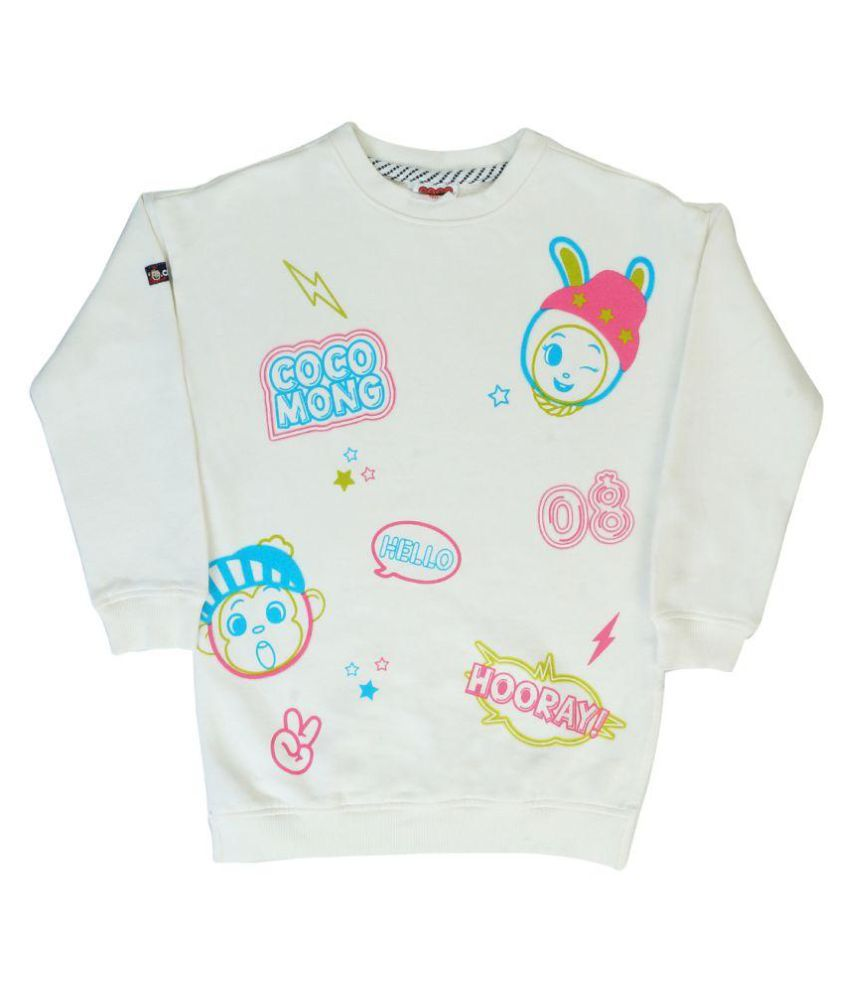 Indirang White Crew Neck Sweatshirt