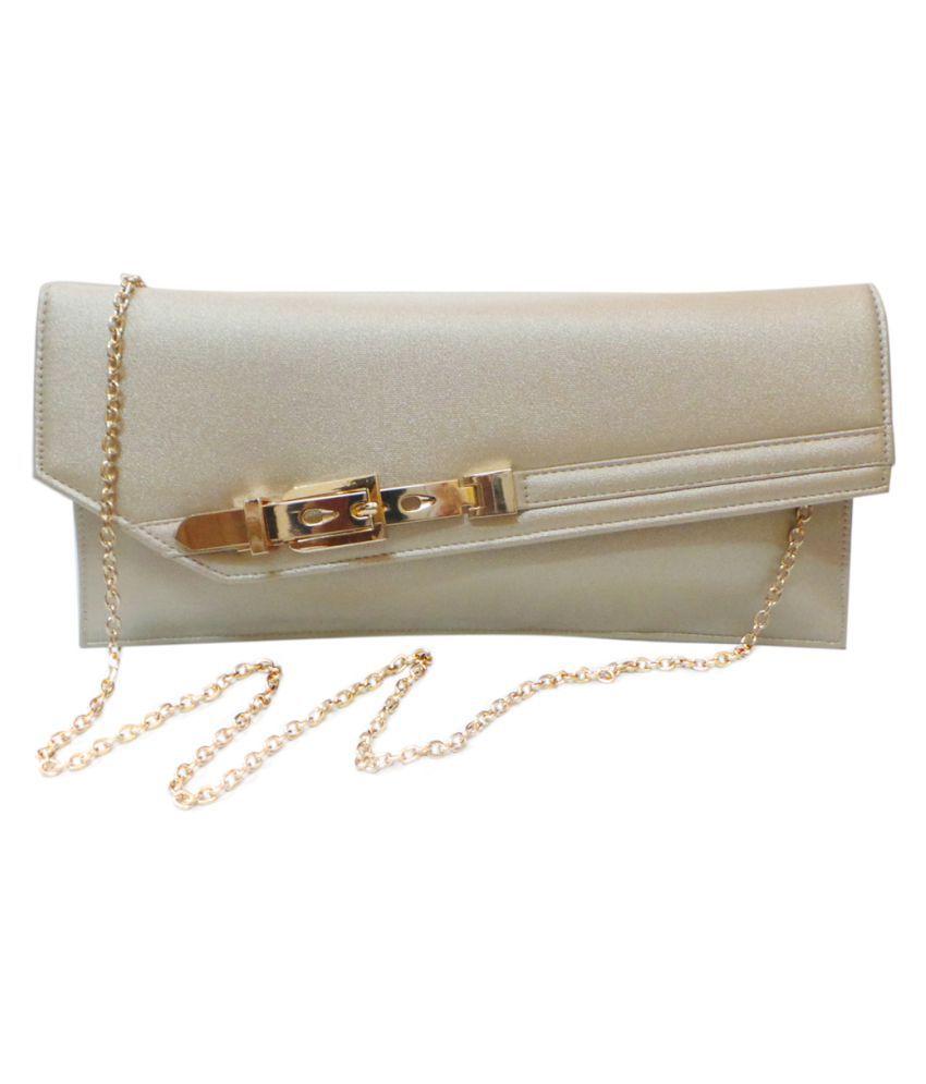 Vardhini Gold Faux Leather Clutch