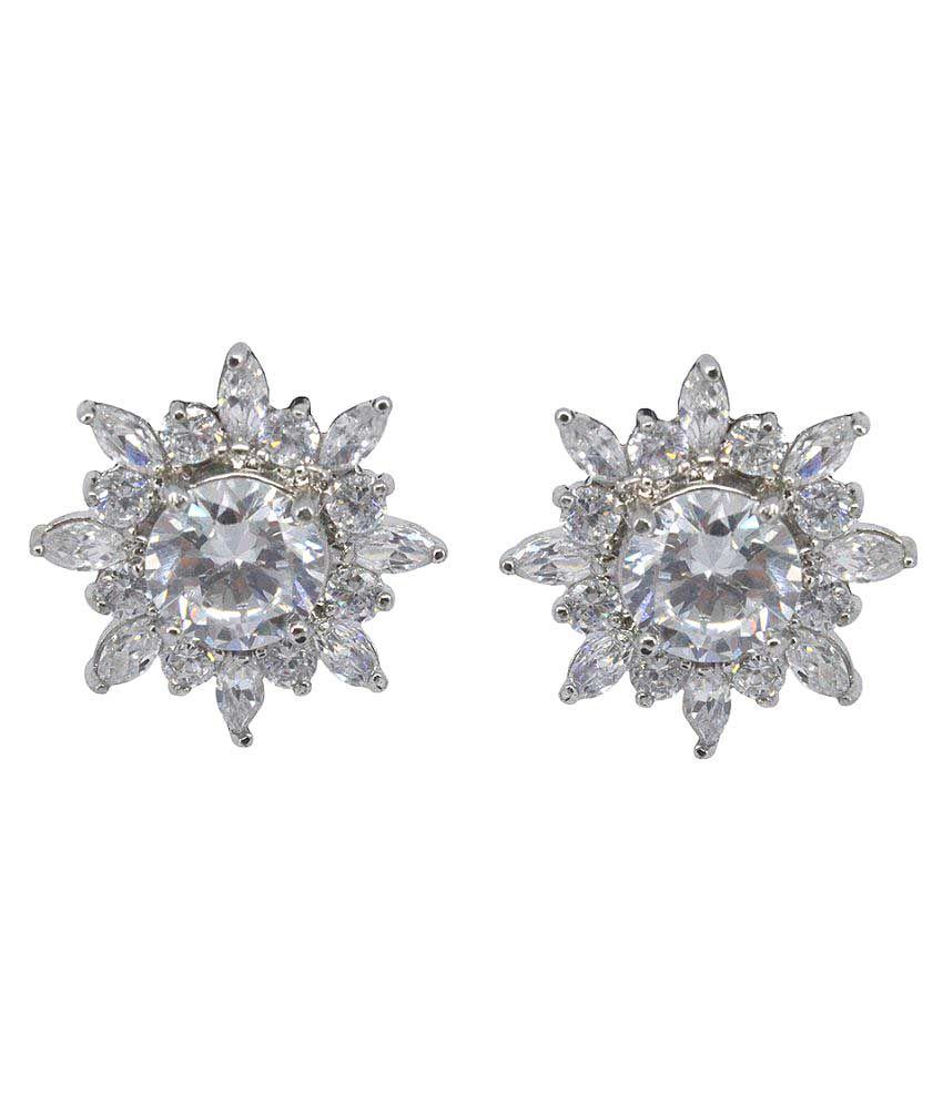 Saloni Fashion Jewellery Silver Brass Stud Earrings