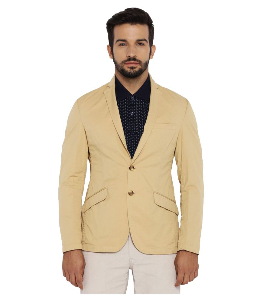 Park Avenue Beige Solid Casual Blazers