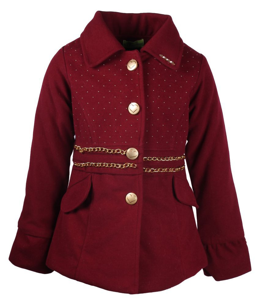Cutecumber Maroon Partywear Winter Coat for Girls