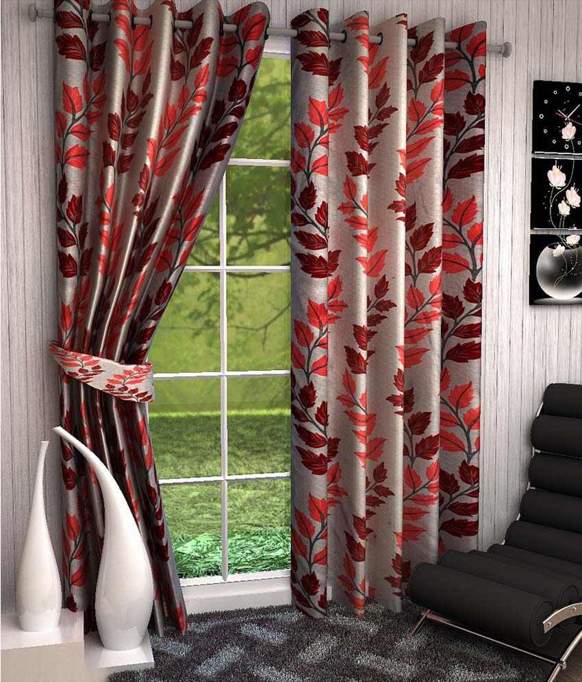 Fresh From Loom Set of 2 Window Ring Rod Curtains Floral Red