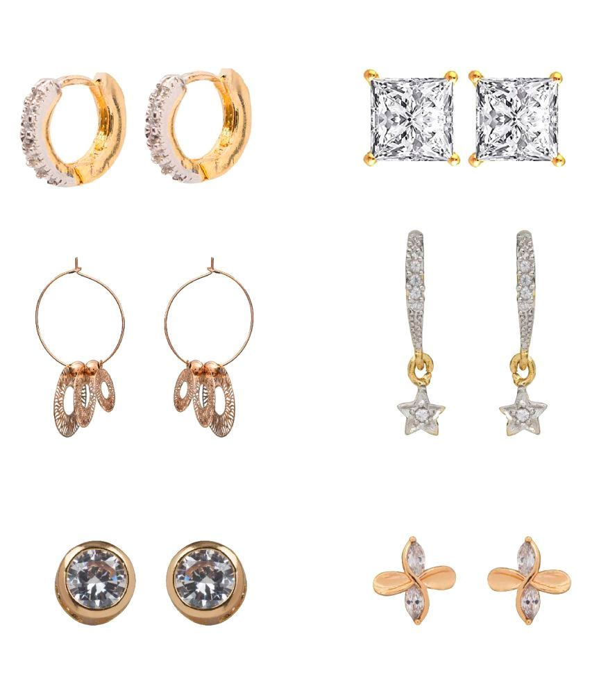 Panash Gold Grace Designer Earrings Combo Set of 6